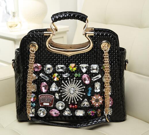 Trend 2015 diamond rhinestone diamond bag japanned leather chain bag handbag one shoulder cross-body womens handbag<br><br>Aliexpress