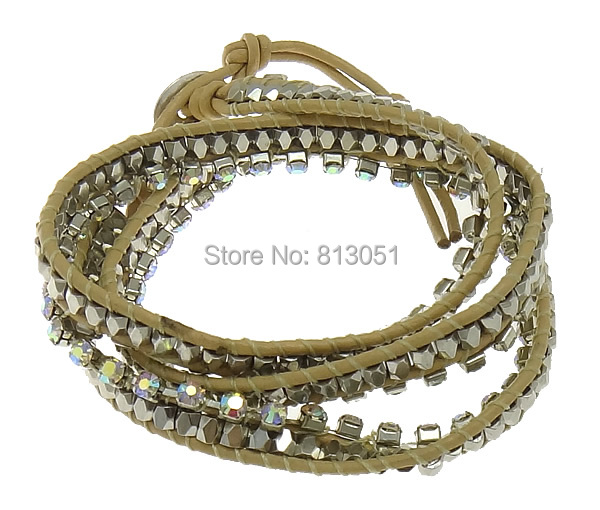 Free shipping!!!Cowhide Wrap Bracelet,Bulk Jewelry, brass clasp, platinum color plated, 3-strand & with rhinestone, nickel