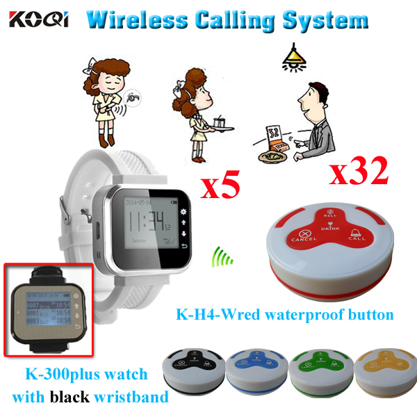 Wireless Service Calling System For Restaurant 30pcs Table Button And 5pcs Of Wrist Watch Reciever(China (Mainland))