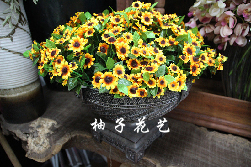 New Single Branch of Mini Sunflower Daisy Artificial Flowers Dried Decorative Flowers for Wedding Party Thanksgiving(China (Mainland))