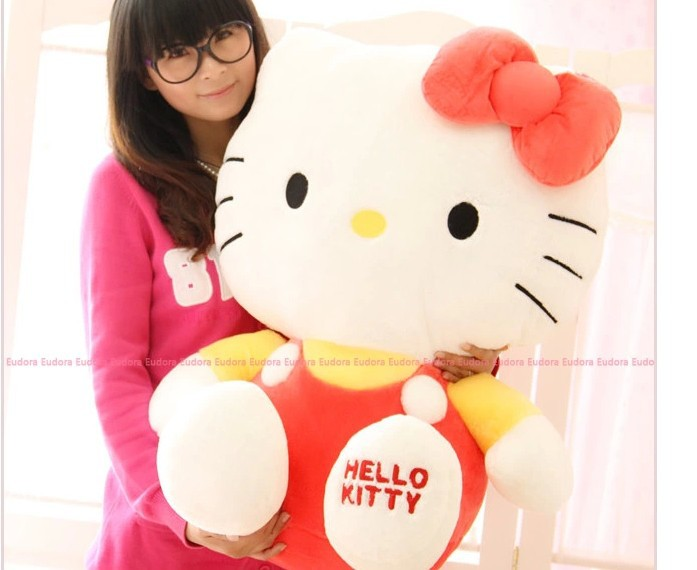 stuffed animal lovely cat plush toy about 58cm red hello kitty doll 23 inch toy k8544(China (Mainland))