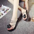 women fashion summer flower beach flip flops cute lady rubber flat Sandals shoes casual black floral
