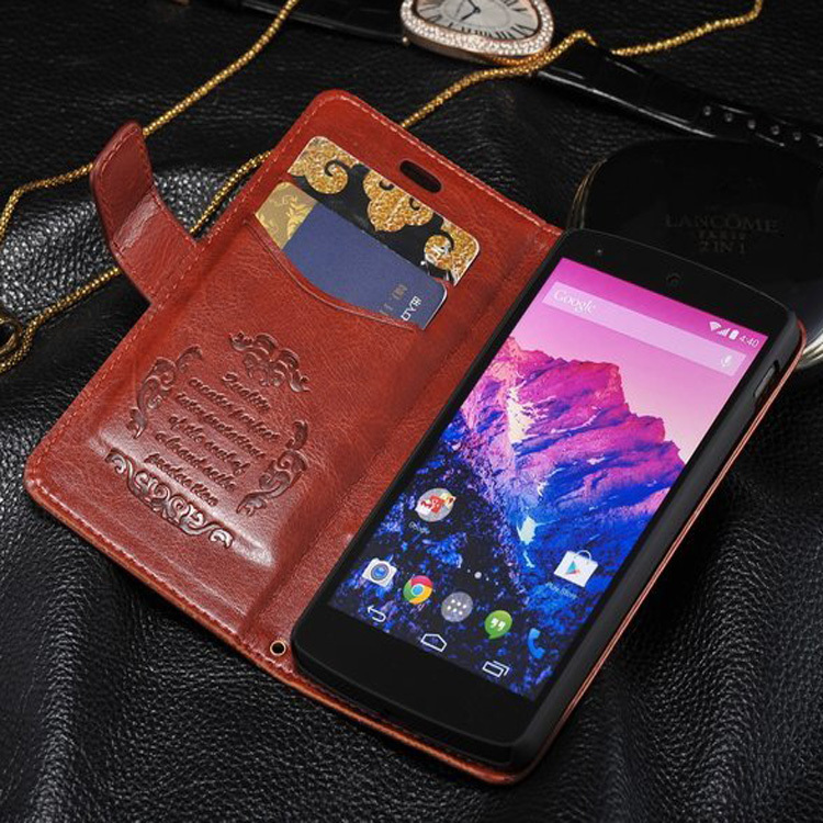 Genuine Leather Wallet Stand Design Case for LG Nexus 5 Phone Bag Cover Luxury Book with Card Holder Free shipping