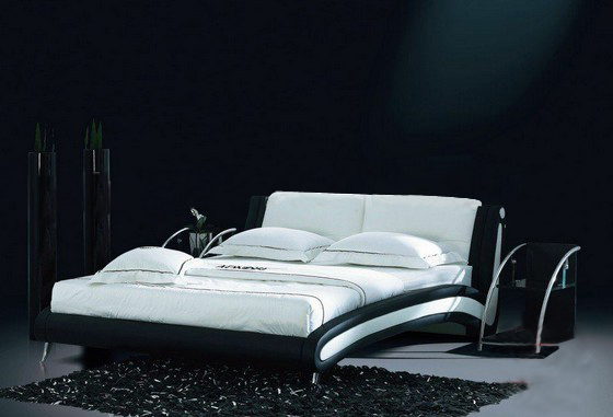 White and Black Genuine leather sofa bed, comfortable headrest design, best choice for your bedroom B02<br><br>Aliexpress