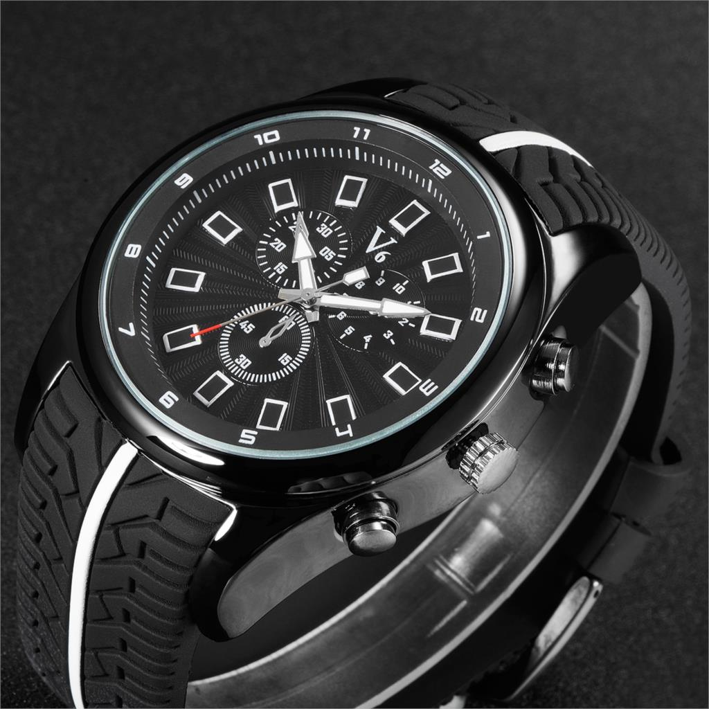 V6 Luxury Brand Watch Fashion Sports Watches Men Silicone Quartz Watch Military Watches Hour relogio masculino relojes hombre<br><br>Aliexpress