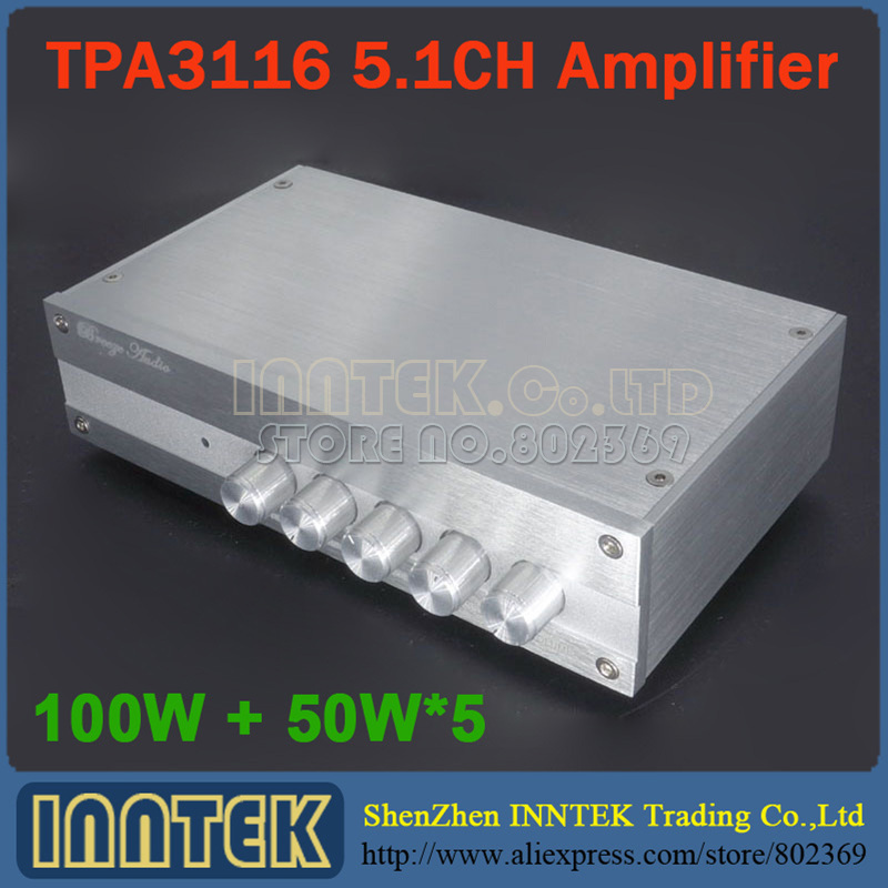 Finished TPA3116 5.1 6-CH 100W + 50W*5 Power Amplifier multichannel amplifier subwoofer independent tone adjust, free shipping(China (Mainland))