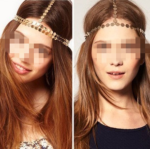 Fashion new arrival fashion metal quality wafer hair rope chain hair accessory hair band  F-016