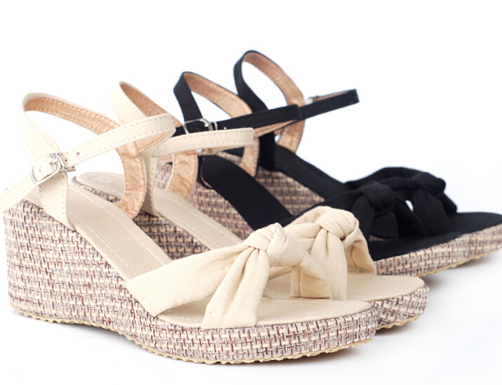 summer new Hemp cloth Buckle Strap High-heeled sandals. fashion Solid open-toed Wedges Sandals .big Size leisure women's shoes(China (Mainland))