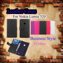 Back Cover Case Lychee PU Leather Filp Stand Wallet Mobile Phone For Nokia Lumia 520 Book Covers Card Holder Business Shell Bags