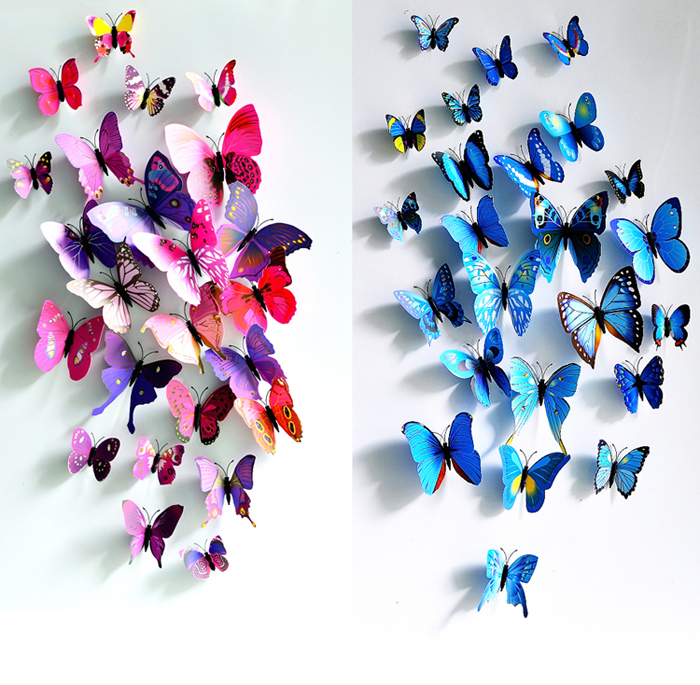 free shipping home wall sticker decoration 3D butterfly 12pcs stickers 9 colors on sale(China (Mainland))