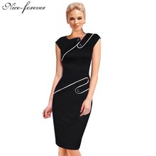 Nice-forever Business Female Pencil Dress Elegant Lady Illusion Patchwork Sheath Buttons Fitted Women Bodycon Bandage Dress b231(China (Mainland))
