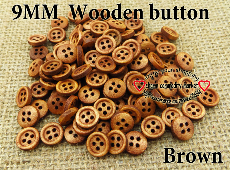 9MM 100pcs brown wood sewing button wooden buttons for clothes accessory MCB-701(China (Mainland))
