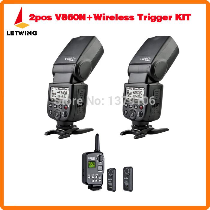 2x Godox V860N Li-ion Battery I-TTL HSS Flash Speedlite with FT-16S Power Control WirelessTrigger KIT For Nikon Camera(China (Mainland))