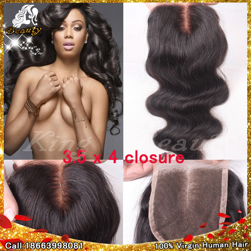7A Brazilian Body Wave Lace Closure 3.5x4 Virgin Human Hair Body Wave 3 Part Lace Top Closure Bleached Knots Lace Front Closures(China (Mainland))