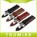 Genuine Leather Watchband Push Button Butterfly Clasp 16mm 18mm 20mm 22mm 24mm Universal Watch Band Bracelet