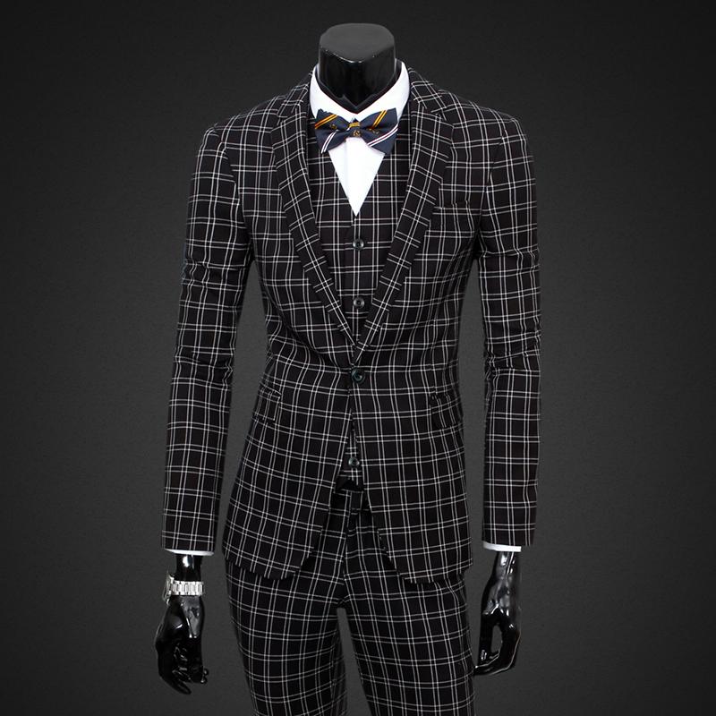 (Jacket+Pants+Vest)Wool gray Classic Tweed Custom Men Plaid suit Blazers Retro Casual Brand Slim Masculino Business SuitsОдежда и ак�е��уары<br><br><br>Aliexpress