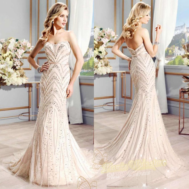 Mermaid Wedding Dresses With Diamonds : Mermaid wedding dresses luxury bling with diamonds and