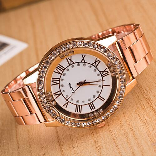 Hot Mens Womens Rhinestone Roman Numerals Alloy Band Round Analog Quartz Watch<br><br>Aliexpress