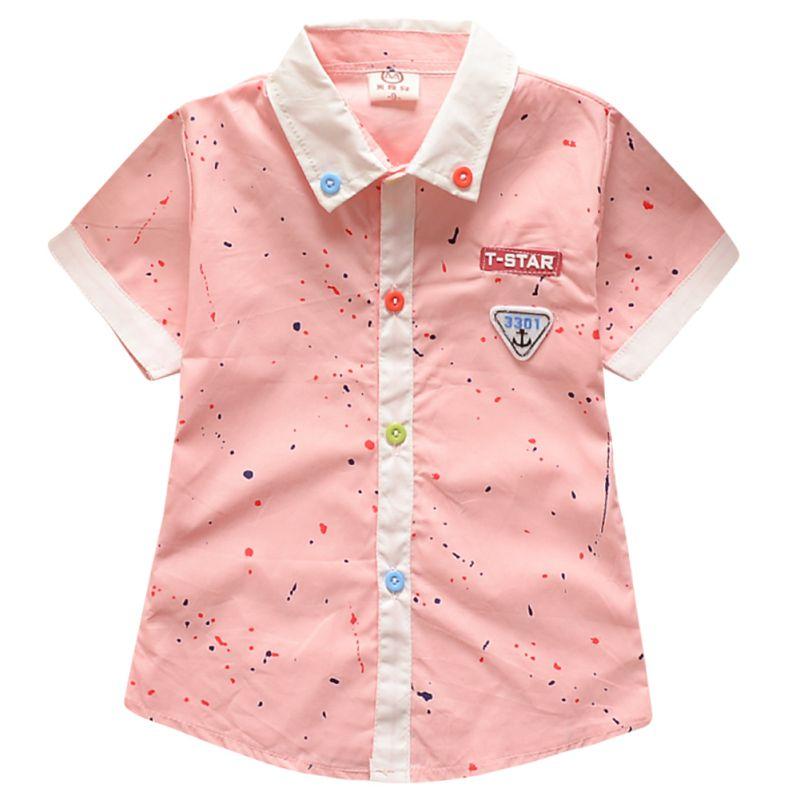 PY216  Baby Kids Boys Girls Summer Cotton T-shirts Short Sleeve Button Shirts Tops 1-5Y