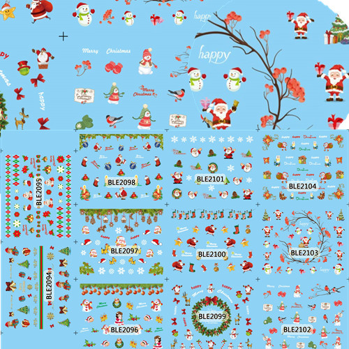 11 Designs in 1 Christmas Design Nail Art Decals Water Transfer Stickers Manicure Foil Polish Wraps DIY Nail Xmas #BLE2094-2104(China (Mainland))