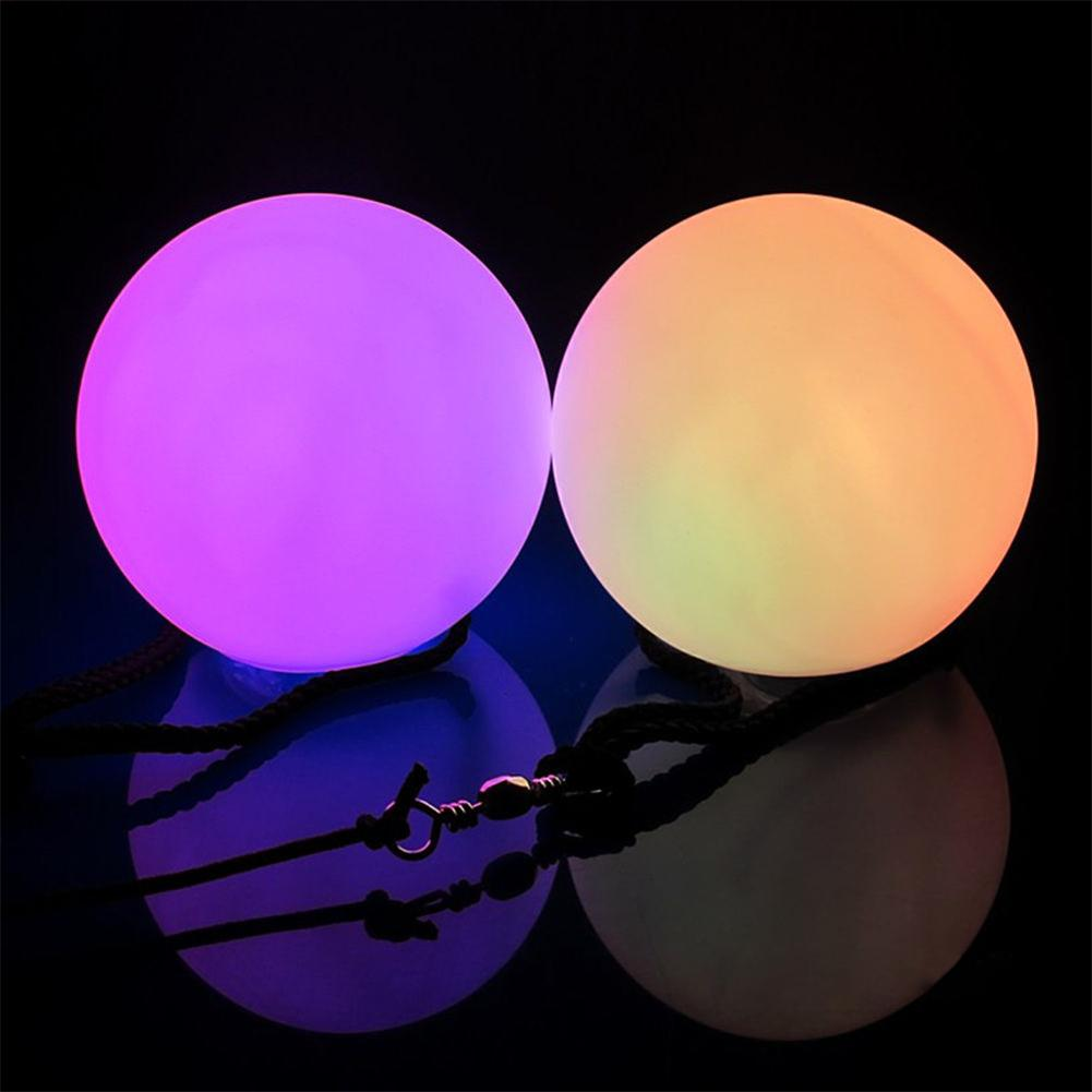 1 Pcs shine multi-color led poi thrown balls professional belly dance level hand props(China (Mainland))
