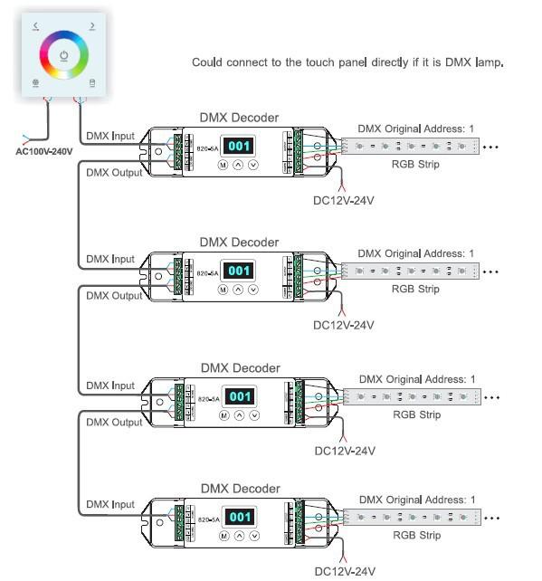 dmx led controller wiring diagram dc100 240v    dmx    rgb    controller       led    strip touch panel dimmer  dc100 240v    dmx    rgb    controller       led    strip touch panel dimmer