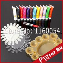12 Color Acrylic Nail Kit Paints 3D Nail Art Designs Nail Tips Acrylic Paint Tools Holder Palette Nail Decorations 12 ml/color(China (Mainland))
