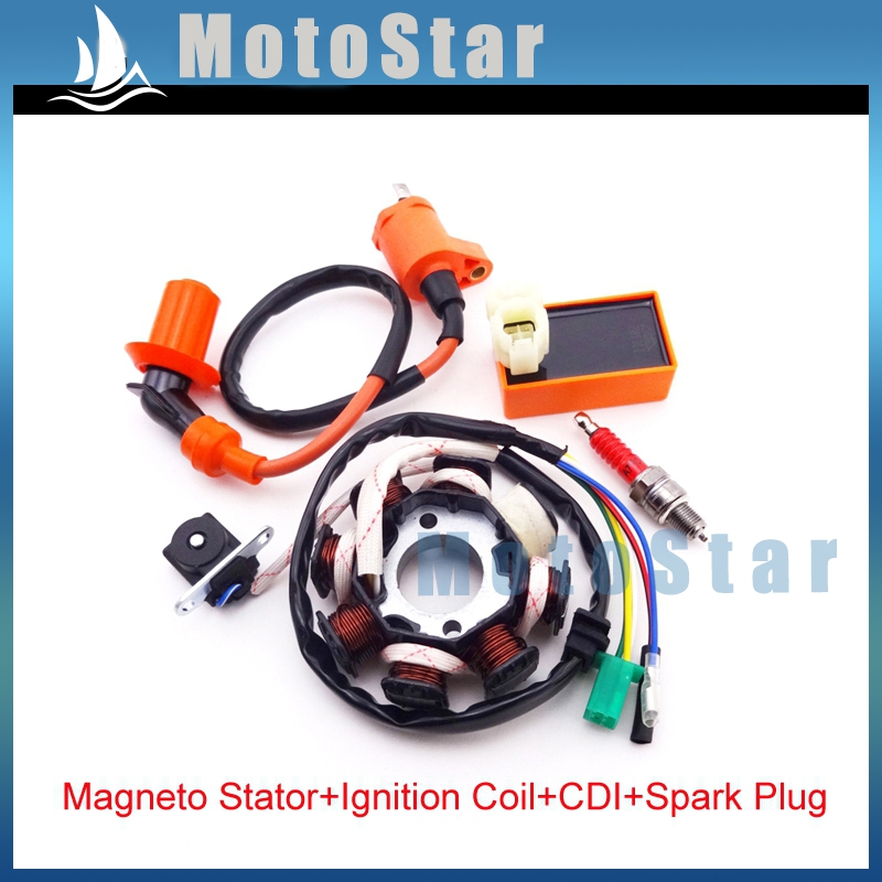 Performance Ignition Coil 6 Pins AC CDI Box A7TC Spark Plug Magneto Stator For Chinese GY6 125cc 150cc Moped Scooter(China (Mainland))