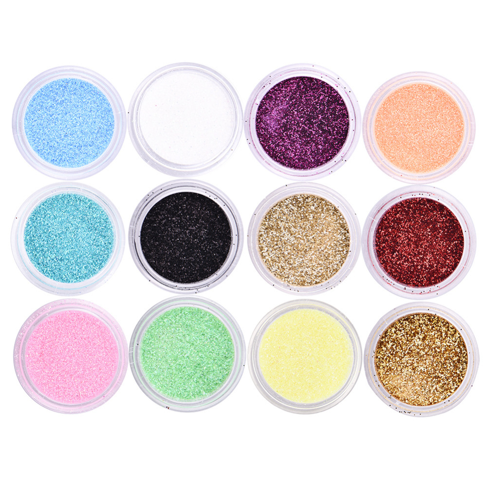 12 Colors/set Metal Glitter Acrylic UV Powder Dust Gem Nail Glitter Nail Polish Tools Makeup Beauty Nail Art Tool Kits(China (Mainland))