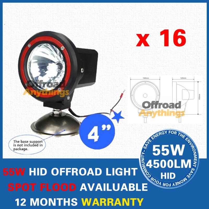 "16X 4"" Spot/Flood Beam truck/Boat fog lamp 35W hid driving lights HID off road light xenon work lighting offroad car lamp(China (Mainland))"