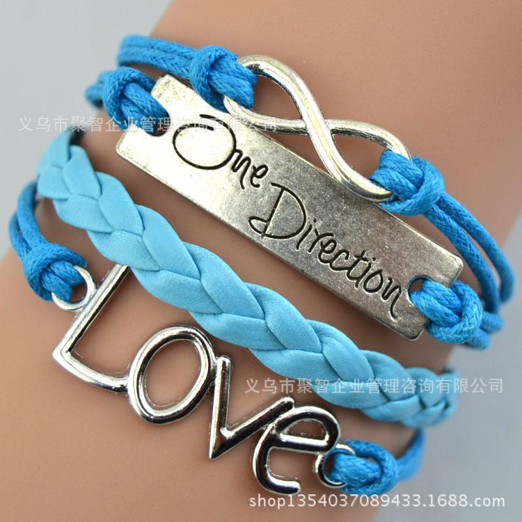 Foreign trade of the original single export one direction four braid bracelet European and American retro romantic love bracelet(China (Mainland))