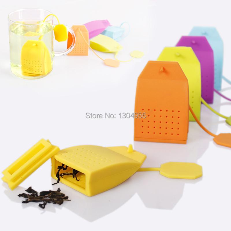 HOT Sale Tea Bag Silicone Creative Tea Strainer Colorful Tea Leaf Infuser Tea Filter 6.5*4.5*2cm 100pcs/lot KT1502032(China (Mainland))