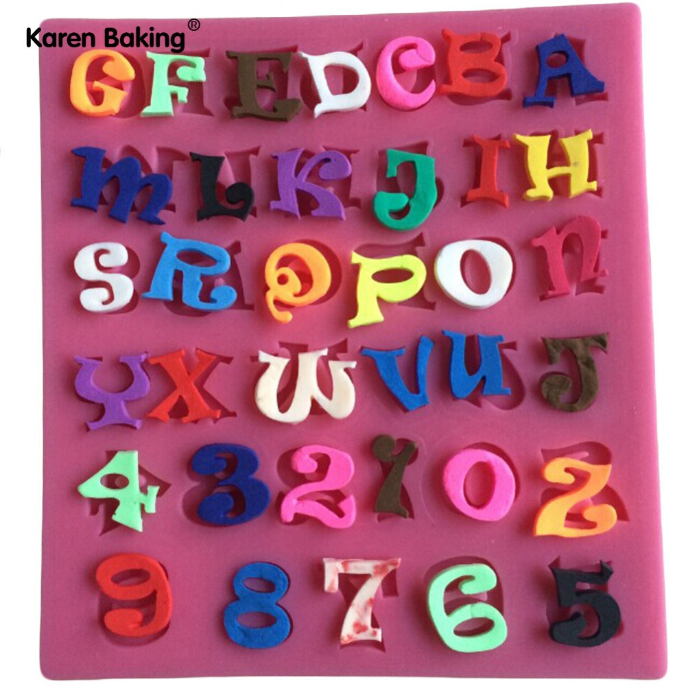 Number And Letter Shape Silicone Mold Cake Decoration Fondant Cake 3D Food Grade Soap Chocolate Moulds- C359(China (Mainland))