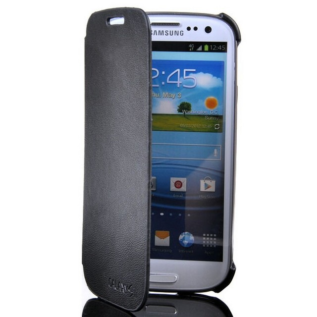 S3 PU Leather Flip Case with Plated Logo  Phone Cover For Samsung Galaxy S3 Case i9300 Airmail Free Shipping