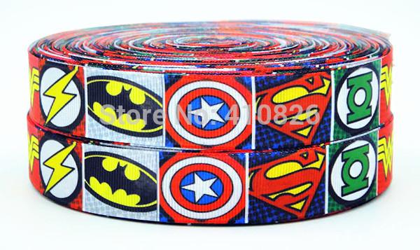 WM ribbon 7/8'' 22mm 140812035 Super hero Cartoon logo printed grosgrain ribbon webbing bows accessory 50yds/roll free shipping(China (Mainland))