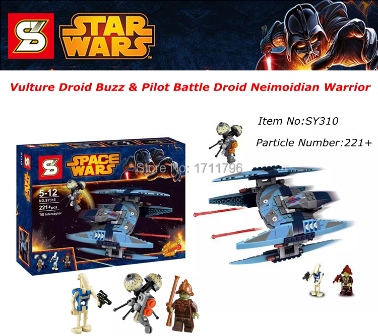Star Wars Vulture Droid Buzz & Pilot Battle Droid Neimoidian Warrior Build Toy Minifigures Building Blocks Compatible With LEGO(China (Mainland))