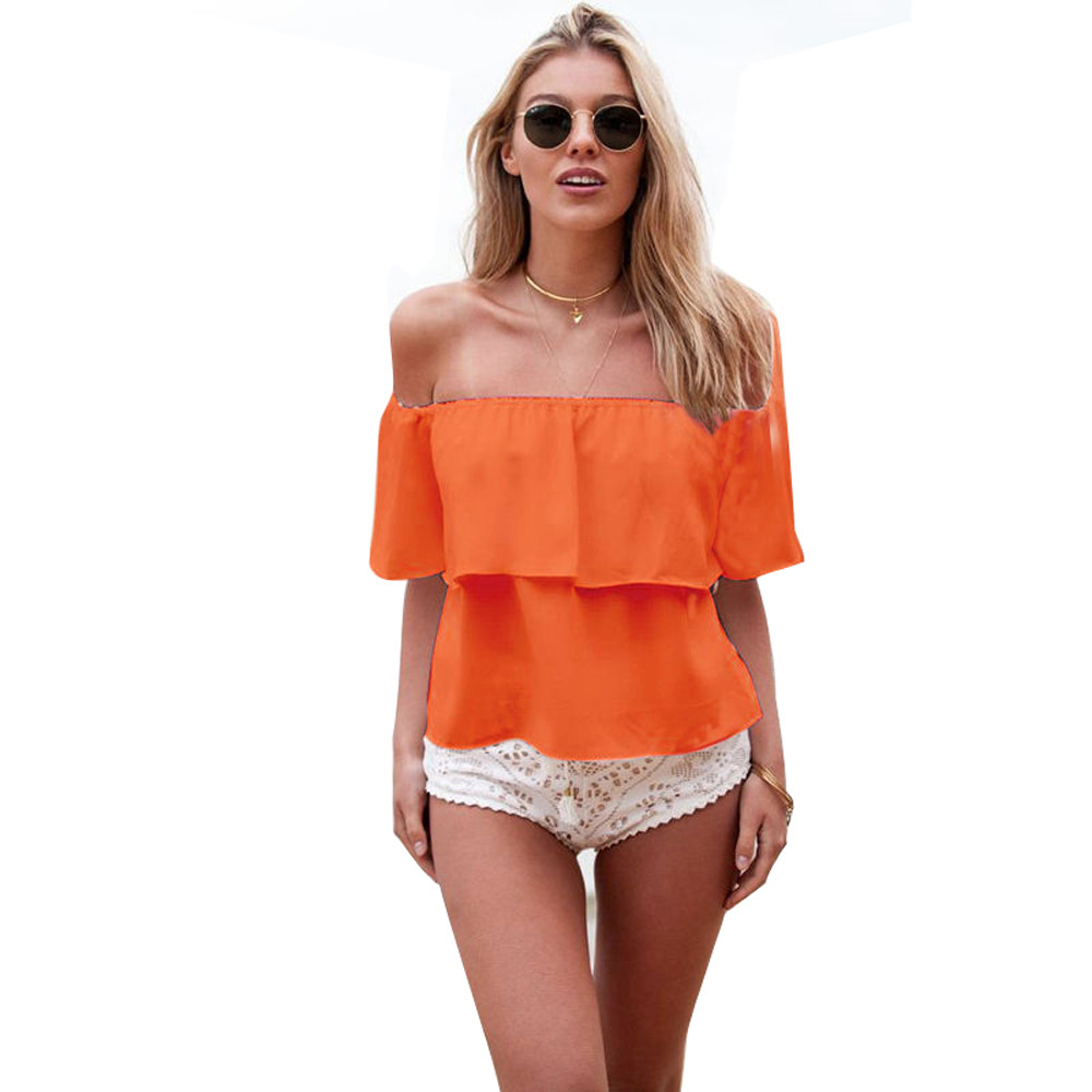 Yifan Fashion Sumemr Blusas Women Blouses Off Shoulder Ruffled Low Back Peasant Shirt Crop Tops Sexy Casual Loose Blouse Female