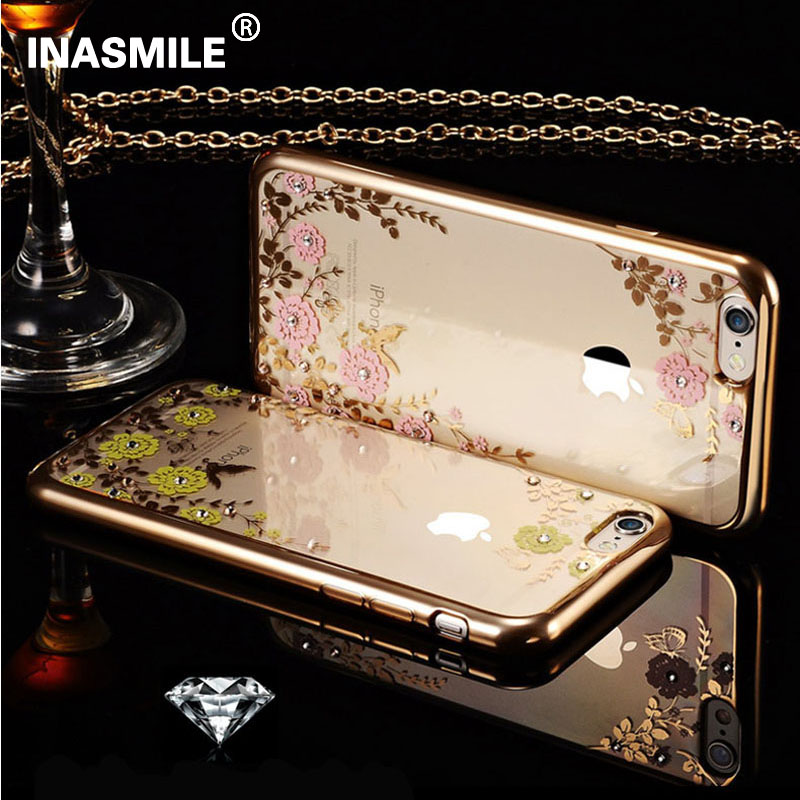 Secret Garden Plating Rhinestone Phone Case for iPhone 4 4S Pink Flower Soft TPU Back Cover for iPhone 4S Rose Gold Case Cover(China (Mainland))