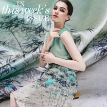 Buy 115*108cm/pcs Limited Bamboo digital painting silk natural stretch satin fabric dress tissu au meter bright cloth DIY for $33.36 in AliExpress store