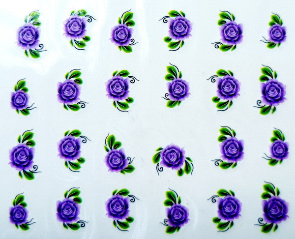 Water Transfer Nail Art Stickers Decal Beauty Blue Purple Rose Flowers Design French Manicure Tools(China (Mainland))
