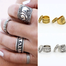 4pcs/Set Vintage Punk Ring Set Unique Carved Antique Silver Elephant Totem Leaf Lucky Rings for Women Boho Beach Jewelry R26(China (Mainland))