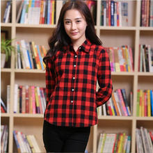 Women Plaid Shirt Long Black Sleeve Cotton Blouse Tee Shirt Femme Top Blazer Tartan Clothes blusas Plus Size 5XL