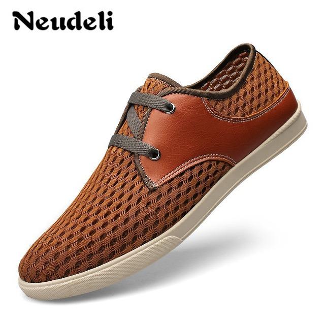 2016 большой размер 37 - 38 качество летние мужской обуви из натуральной кожи + сетка ...