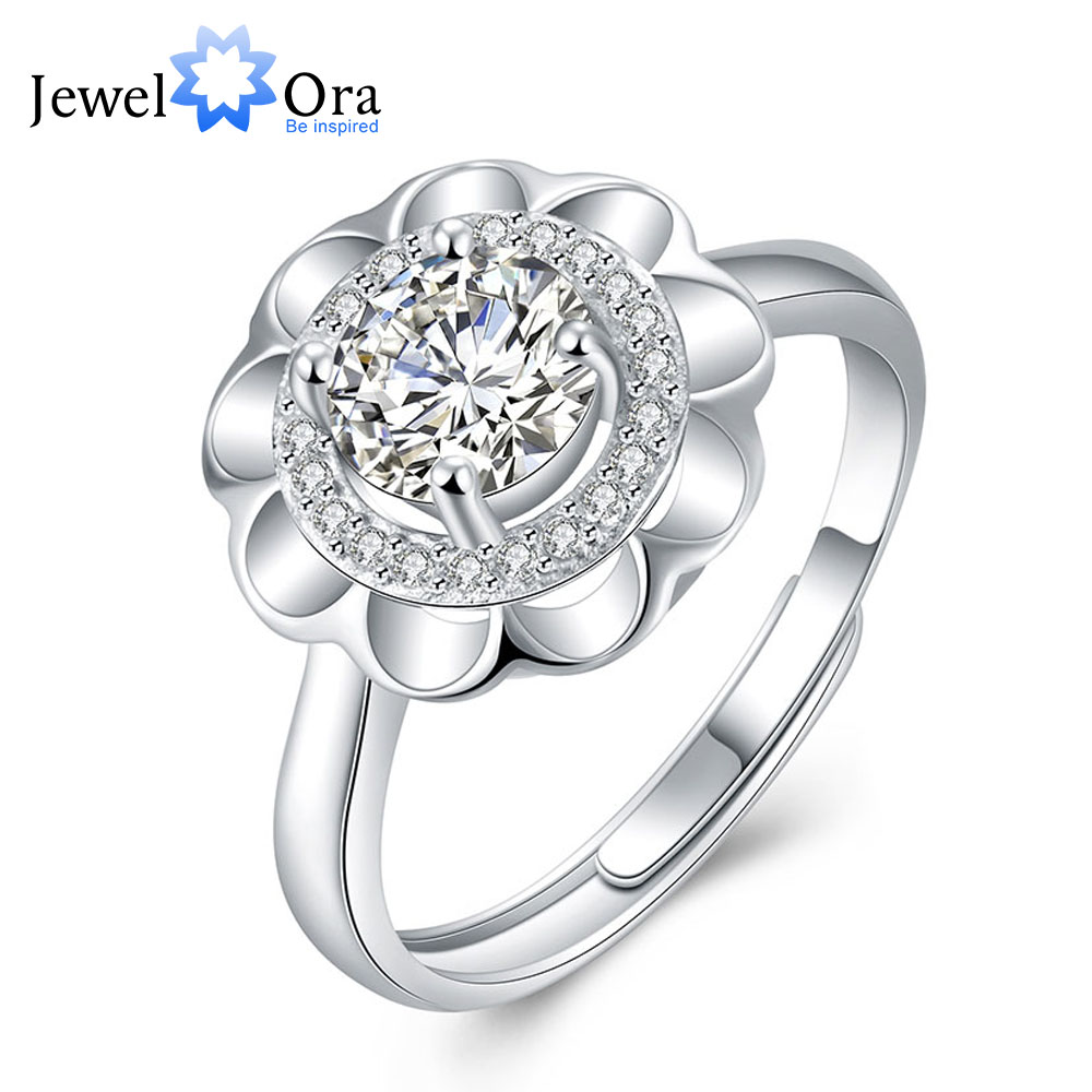 Flowers Shape Solid 925 Sterling Silver Jewelry Cubic Zirconia Adjustable Rings For Women Wedding Jewelry(JewelOra RI102018)(China (Mainland))