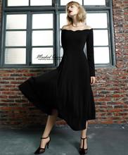 party dress Family Matching Outfits Women dress Retro wave collar waist Hepburn little black dress girls dress free shipping