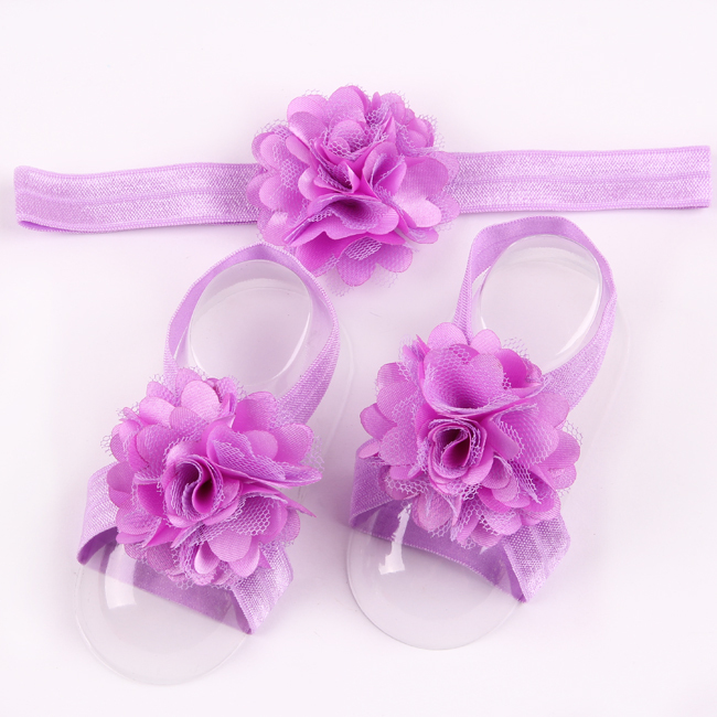 Retail Newborn Baby Flower Headband Barefoot Sandal Sets Satin Flower Hair Accessories For Photography Props 17 Colors pick W061