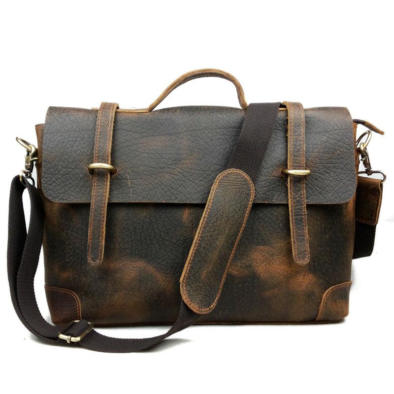 mens briefcase leather office bags for men geniune leather bag for men Shoulder Crazy Horse mens messenger bag(China (Mainland))