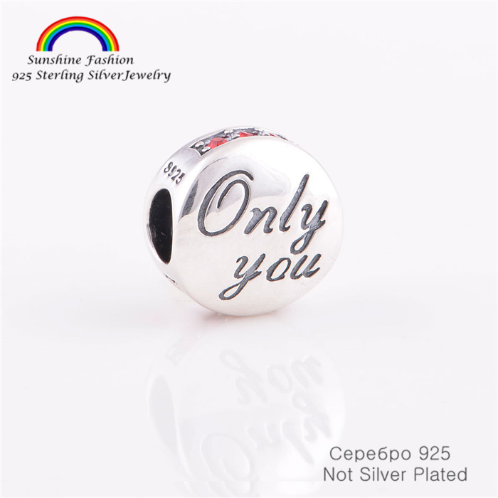 925 Sterling Silver Jewelry Only You Letter CZ Stones Bead Fits Pandora Charms Bracelet Snake Chain Women DIY Jewelry Making(China (Mainland))