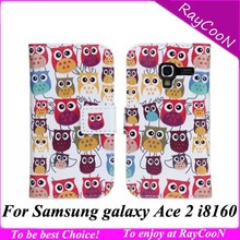 50pcs/lot New for Samsung galaxy ace 2 i8160 cartoon owl leather wallet case,i8160 cute owl leather stand cover,mix design