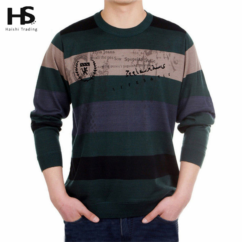 Cashmere Sweater Men 2016 New arrival Mens Sweaters Striped Printed Wool pullover Men O Neck Pull Homme Brand Men's Clothing OEM(China (Mainland))